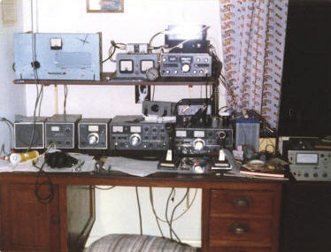 "The H44PT shack in 1980: Home Brew 4CX250Rs on 50MHz, 144MHz and 432MHz. Kenwood TS520, TV506, FV520. TS820. FT220 + Microwave Modules 144/432. 6ele on 6m, 10ele on 2m and ""multibeam 48ele on 70cm."